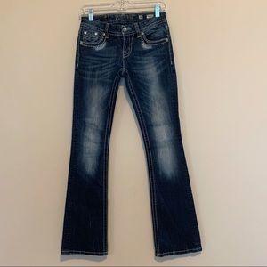 Miss Me Signature Rise Boot Cut Blue Denim Jeans